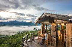 Viewpoint from Magic Mountain Cafe' (prasit suaysang) Tags: viewpoint phayao thailand mountains mist skyline sky fog forest cafe morning sunrise