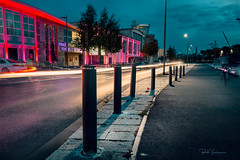 A colourful night . (rudi.verschoren) Tags: long exposure night evening light lines lights colors dusk trail walkway belgium flanders antwerp outdoor contrast mood old new eos europe europa eilandje artistic art architecture led cars bicycle
