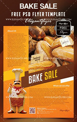 Free Bake Sale Flyer Template in Photoshop + Facebook Cover (elegantflyers@) Tags: announcement bakesale bakedgoods bakery bread cake cookies cupcakes dough eggs flour pastry pie free flyer poster