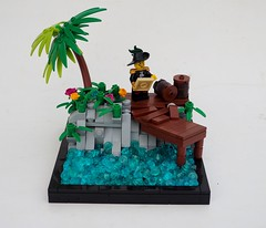 Whiffo Dock (Robert4168/Garmadon) Tags: lego captainwhiffo brethrenofthebrickseas eslandola corrington palm tree vegetation jungle dock sea water black border light grey rockwork