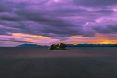 sunset 9250 (junjiaoyama) Tags: japan sunset sky light cloud weather landscape orange purple contrast colour bright lake island water nature summer