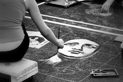 VOLTO (1laura0) Tags: faces madonnari disegno asfalto gesso bw bianconero arte artista art painting volto madonna espressione occhi grazie curtatone festa street 50mm 50 pennello canon