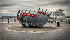Merchant Seafarers' War Memorial (tina777) Tags: merchant seafarers' war memorial cardiff bay wales sculpture poppy poppies st davids hotel penarth ononesoftware photoshop elements 13 topaz adjust dramatic
