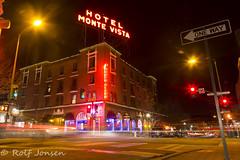 Hotel Monte Vista (rjonsen) Tags: hotel flagstaff street lighttrail light trail night photo long exposure