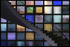The Color Walk (frankmartinroth) Tags: color 35mm f20 sony rx1r sonnart235 architecture building stairs indoor wide urban stairway windows geometry glass lines germany bavaria spiral