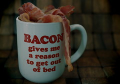 Cup O' Bacon. (EOS) (Mega-Magpie) Tags: canon eos 60d food chow bacon coffee cup wood table indoors fun funny joke