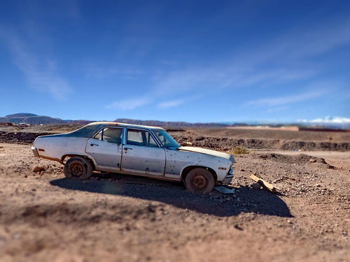 Abandoned vehicle in the desert