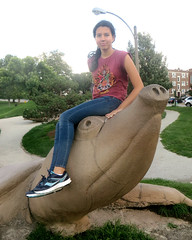 Eden on Giant Pig-Nose Turtle (edenpictures) Tags: turtlepark turtle reptile sculpture statue eden playground stlouis missouri pignoseturtle