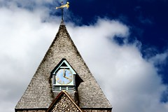St. Margaret's Church, Ditchling, East Sussex. (Jammer 1970) Tags: ditchling sussex uk holiday vacation countryside village church clock tower vane cloud sky blue brick tile gold england history rural religion worship margaret spire contrast saint saintmargaret