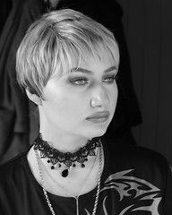 Short hair portrait (Silje Roos) Tags: gigi hadid gigihadid photo photography photoshoot photos portrait picture photographys pretty people photograph pale choker shorthair short hair hairstyle wig wish tribal blackandwhite black white makeup make up beauty beautiful hotgirl girl woman fashion style model necklace jewlery jewllery womanportrait monochrome