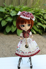 IMG_0514 (Dollymama2015) Tags: pullipmerl doll groovedoll redhead ginger lolitastyle dolldress handmadedollclothes sugarlattice gnome garden outdoors