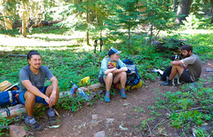 Turtle, Magellan & Matt - Thru Hikers - Pacific Crest Trail (ex_magician) Tags: thruhiker 2017 pct klamathfalls oregon moik photo photos picture pictures image lightroom adobe adobelightroom interesting deadindianroad lakeofthewoods winemanationalforest fishlake brownmountain lavaflow pacificcresttrail brownmountaintrail oey newdog sophie trailbuddy bordercollie dog traildog bestdogforrunning bestbreedforrunning bestbreedformountainbiking