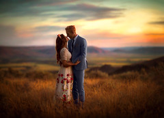 Melissa & Ben ({jessica drossin}) Tags: jessicadrossin wwwjessicadrossincom love lovers sunset hills idaho sun clouds warm light beauty embrace touch bridal married marriage