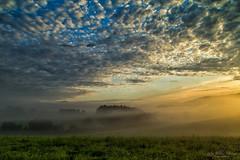 Rise  - explore (Rita Eberle-Wessner) Tags: sunsrise sonnenaufgang landschaft landscape nebel fog himmel sky clouds wolken wiese meadow gras grass odenwald weschnitztal