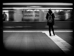 ..waiting.. (frank_hb) Tags: bw black blackandwhite blackwhite berlin street streetphotography shadow station silhouette potsdamer human humaninarchitecture white weis woman