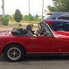 Buds - Ann Arbor, Michigan (Marcelino Akemann) Tags: mrmg pug mg mgmidget redsportscar buddies annarbor convertible buds dog car