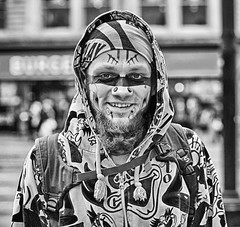 Urban Camouflage (Mick Steff) Tags: tattoos urban male manchester people person mono monochrome black white portrait street hood