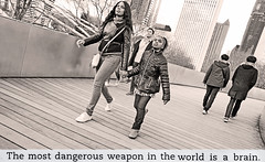 Modern Adventures in Parenting in Chicago: The Most Dangerous Weapon in the World is the Brain (kirstiecat) Tags: thepanopticon jennifagan literature books scottish chicago parenting kids backtoschool monochrome sepiatone blackandwhite noir kid child compassion empathy science proimmigration noiretblanc socialjustice intelligence monochromemonday brain