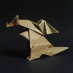 Dragon, designed by  Hideo Komatsu   [Hideo Komatsu challenge 34/50] (Orizuka) Tags: origami dragon hideokomatsu lizardskinpaper hkchallenge