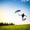 Happy man! (Zeeyolq Photography) Tags: grass france man jump nature umbrella sky jura happy happyworld lesrousses
