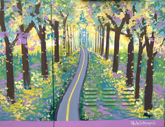 Autumn Pathway #art2017 (Mr. Happy Face - Peace :)) Tags: autumn fall gardening flowers leaves painting cityofcalgary pastels pathway yyc michellehoogveld