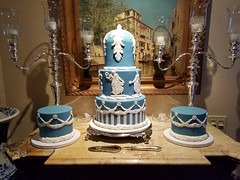 Wedgewood themed birthday cake with molded details (jennywenny) Tags: wedgewood grecian blue white birthday cake old world