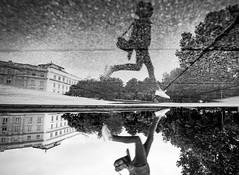 Street Mirror (CoolMcFlash) Tags: street streetphotography puddle water reflection mirrormirror flickrfriday jump person vienna fujifilm xt2 bnw blackandwhite blackwhite strase pfütze wasser reflektion spiegelung wet sprung springen wien sw schwarzweis fotografie photography xf 1024mm f4 r ois