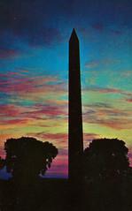 Washington Monument at Sunset (Thomas Hawk) Tags: america dc districtofcolumbia usa unitedstates unitedstatesofamerica vintage washingtondc washingtonmonument postcard silhouette sunset fav10