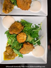 Sound & Savor - Fried Eggplant (Bitter-Sweet-) Tags: soundsavor vegan food finedining underground restaurant popup chef philipgelb sanfrancisco bayarea oakland california dinner meal plantbased vegetarian meatless appetizer starter salad fried eggplant battered radishes pickles mustard greens