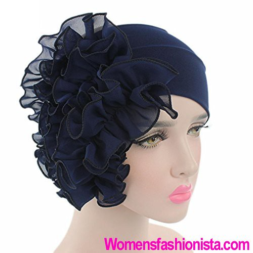 2e4e56f6408 Qingfan Women Flower Solid Ruffle Cancer Chemo Elegant Hat Beanie Turban  African Head Scarf Wrap Cap