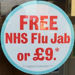FREE NHS Flu Jab or £9 (Leo Reynolds) Tags: xleol30x squaredcircle panasonic lumix fz2000 sign sticker sqset140 xx2017xx sqset