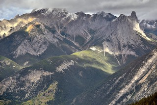 Views of Mount Cory and Other Jagged Peaks from  Sulphur Mountain Cosmic Ray Station (Banff National Park)