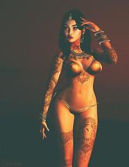 Golden (Scarlett Rhea) Tags: bikini glamour tattoos henna indian