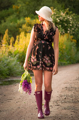 Sunset Stroll.. (Imagine8 Photography) Tags: forres altyre altyreestate model rural imagine8photography flowers dusk stroll girl wellies moray highlands scottishhighlands scottish scotland