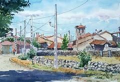 San Bartolomé de Corneja (P.Barahona) Tags: urbano rural pueblo casas popular campanario arquitectura postes cables calle urbansketcher
