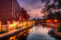 Naperville-Riverwalk-Blue-Hour (StephanieGreer0225) Tags: hdr napervilleriverwalk downtownnaperville naperville hdrphotography photomatrixpro5 multipleexposures sunset magichour bluehour