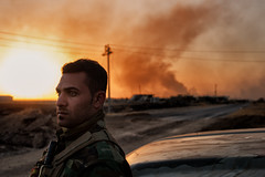 Iraq, october 2016. The battle of Mosul has started two days ago. A sniper is in the village and the peshmergas don't let us go further (rvjak) Tags: irak iraq kurdistan peshmerga sunset coucherdesoleil road route war guerre smoke fumée fight combat mosul mossoul nikon d750