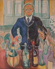 Edvard Munch, Self-Portrait with Bottles, ca. 1938 (Sharon Mollerus) Tags: edvardmunchbetweentheclockandthebedexhibit sfmoma sanfranciscomuseumofmodernart sanfrancisco california unitedstates us cfptig17