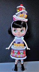 Candy getting ready for the Royal Ascot (Blythe's Tiny Worlds) Tags: crochet outfit custom doll blythe amigurumi sweets strawberry cherry kiwi raspberry hat dress clothes cake ascot helmet headband