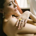 Art Deco Matte Amber Ring thumbnail