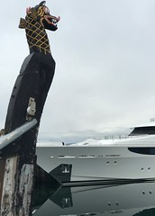 The Old Overlooking the the New (unnurol) Tags: harbouryachtluxuryyachtoceanreykjavikicelandvikingshipdragonhead