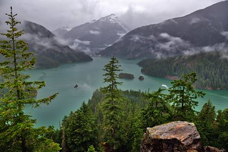 A View to Forests, Mountains and a Lake at Diablo Lake Vista Point (HDR, North Cascades National Park Service Complex)