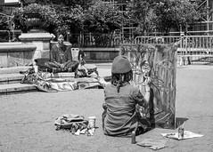 Muse (John St John Photography) Tags: streetphotography candidphotography unionsquare woman painter painting posing muse ankh newyorkcity newyork bw blackandwhite blackwhite blackwhitephotos johnstjohn