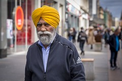 The Yellow Turban (Leanne Boulton) Tags: people urban street candid portrait portraiture streetphotography candidstreetphotography candidportrait streetportrait eyecontact candideyecontact streetlife man male old beard moustache turban sikh face facial expression look emotion feeling eyes mood colourful bright yellow tone texture detail depthoffield bokeh naturallight outdoor light shade shadow city scene human life living humanity society culture canon canon5d 5dmarkiii 70mm character distinguished gentleman ef2470mmf28liiusm color colour glasgow scotland uk