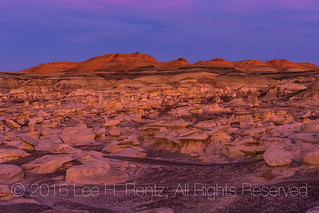 Warm Sunset Light on the Rock Formations of the Bisti Badlands
