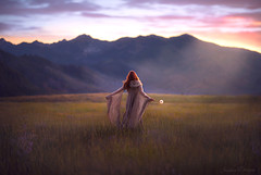 Open Space ({jessica drossin}) Tags: jessicadrossin woman naturallight mountains sunset dandelion flower field wildflowers wwwjessicadrossincom