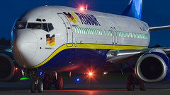 Ryanair At Night. (spencer.wilmot) Tags: eicsi ryanair fr frryr ryr gse gseesgp esgp säve gothenburg gothenburgcityairport night nighttime nightshoot beacon specialmarkings specialcolours speciallivery twin boeing 737 737800 738 737ng 7378as b738 b737 ramp apron germanflag hahn aviation aircraft airplane airliner airport airside civilaviation commercialaviation departure headon jet jetliner plane taxiway