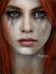 """Madamnesia """"make-up artist"""" (Madamnesia_illustrator) Tags: madamnesia makeup artist lacrime dolore maschera rossa volto donna ritratto arte digitale disegno effetto drawing digitalart day"""