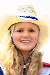 Beautiful Blonde Cowgirl (wyojones) Tags: wyoming meeteetse meeteetselabordayrodeo laborday rodeo cowgirluprodeodrillteam horse smile woman girl cowgirl beauty beautiful pretty lovely cute hat cowgirlhat blueeyes wyojones