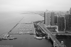 Looking South from Lake Point Tower - (Jim Frazier) Tags: chicago river harbor lakefront 2016 20161015openhousechicago architectural architecture art autumn buildings city cook cookcounty downtown fall il illinois jimfraziercom lakepointtower loop october structures urban bw blackandwhite monochrome desaturated cityscape lake michigan dusable monroe q3 lakepointtowerviews2016
